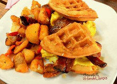 Waffle Sandwhich_5767 (2HandzUp1913) Tags: friends food bacon potatoes nikon pork frat eggs sacramento swine eastersunday sorors 2handzup1913 cafetaria15l