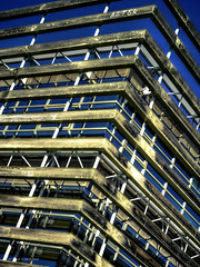 Facade (Luc V. de Zeeuw) Tags: wood sky france building metal architecture modern facade bue bluesky larochelle frontage poitoucharentes