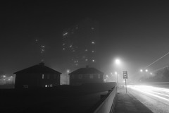 Foggy (ca2cal) Tags: road longexposure light england blackandwhite bw white mist black fog night mono teams traffic tripod foggy monotone gateshead trail website lighttrail tyneandwear bensham traffictrail project366