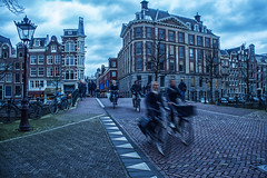 Fast cycling @ Amsterdam (PaulHoo) Tags: street city blue people urban holland netherlands amsterdam bicycle architecture contrast speed cycling nikon cityscape citylife hdr lightroom 2016 d700