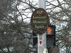H.P. Lovecraft Memorial Square (Randall 667) Tags: street art cemetery square point island graffiti am swan hp sticker memorial artist buried providence crew lovecraft horror devil writer slap rhode raven legend novelist hangout outcast sloe i