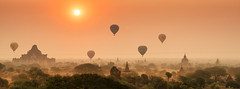 Panorama of Bagan Sunrise (syukaery) Tags: trip travel panorama tourism sunrise temple pagoda nikon asia burma balloon landmark d750 myanmar nikkor burmese provia bagan 105mm vsco