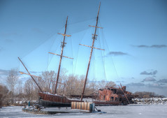 SHIPWRECKED ON ICE (blink to click) Tags: old winter sky lake snow ontario canada cold abandoned water clouds vintage boat frozen ship antique hamilton shipwreck lakeontario damaged hdr decayed decaying grimsby pirateship shipwrecked yourstodiscover jordanharbour hunkofjunk blinktoclick
