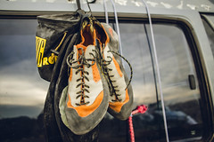 Getting into a new passion (Monkey on 2wheels) Tags: road trip orange window bag coast la chalk nikon shoes hiking exploring australia east adventure climbing backpacker sportiva