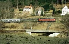 Ernstmhl  1986  215 002 (w. + h. brutzer) Tags: analog train germany deutschland nikon eisenbahn railway zug trains db locomotive lokomotive 215 diesellok eisenbahnen v160 dieselloks webru ernstmhl nagoltalbahn