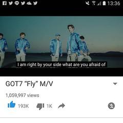 One Million View on #youtube #mv #fly #flight_log #newalbum #got7 #ทีมปั่นวิว #million #view #love #marktuan #mark #jyp