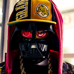 The Force is Strong in These Streets (Johnny Silvercloud) Tags: red arizona black mannequin hat lines yellow canon gold starwars mask tucson geometry patterns curves chain hiphop darthvader arcs nicehat irregularity canon5dmarkiii lightroom5