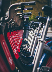 Repeat Cycle   Boris Bikes (James_Beard) Tags: london pattern bokeh bikes bicycles santander canond30 vauxhall vauxhallbridge repeated canon24105 borisbikes