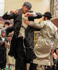 Dance me to the end of drunkenness (ybiberman) Tags: man drunk feast israel dancing candid jerusalem streetphotography happiness purim alcohol hasidic tallit payot breslov meahshearim