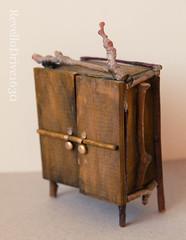 Fairy closet with linen (RD1630) Tags: wood closet miniatures miniature linen mini elf fairy dollhouse schrank fae fee miniatur puppenhaus