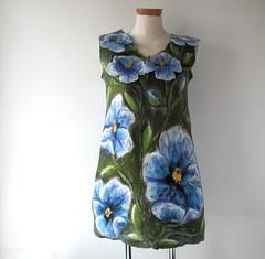 Nuno felted tunic - blue flowers (GalaFilc) Tags: blue fashion felting felteddress feltedvest feltedtunic
