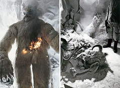 Deleted Wampa attack scene in The Empire Strikes Back (Tom Simpson) Tags: snow film monster vintage starwars costume 1970s behindthescenes hoth wampa theempirestrikesback deletedscene rebelbase
