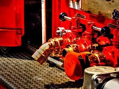 Brass and Crimson (MarkRosauer) Tags: red crimson firetruck fireengine hdr photomatixpro brassfittings tokyofd