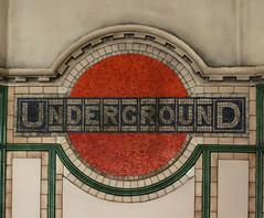 Maida Vale UndergrounD Station, Mosaic (shadow_in_the_water) Tags: london mosaic artnouveau 1915 maidavale roundel ballustrade undergroundsign w9 gradeiilisted maidavaleundergroundstation 288elginavenue mosaicroundell