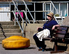 ANiceSpot (Hodd1350) Tags: camera windows christchurch woman face hat yellow wall canon bench sitting steps olympus quay panasonic spots dorset whitepicketfence railings mudeford penf lumixlens