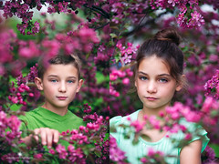(Rebecca812) Tags: pink flowers boy portrait girl collage canon twins serious sister brother springtime headandshoulders floweringshrub beautyinnature canon5dmarkii rebecca812
