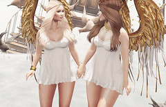 :: Golden Angels (Glamrus) Tags: life family cute angel sisters pose photography golden pretty little adorable explore blueberry together secondlife bones second anc reign gacha littlebones glamrus