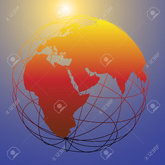 Global wireframe Eastern Earth globe bright sun (matthewdavenport85) Tags: world africa travel blue sun yellow illustration globe asia europe shine bright symbol earth space objects future geography concept tomorrow eastern latitude vector wireframe hemisphere