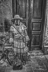 Quertaro, Mxico (Fernando Vargas 182) Tags: street door travel viaje b light shadow summer vacation portrait people blackandwhite bw abstract black art nature girl beautiful hat lady illustration composition pose dark hair mexico happy person photography daylight photo nikon paint day looking angle natural bright artistic native outdoor ss culture naturallight away queretaro mysterious bags tradition selling seller grosseries vendedora cuidaddemexico paintfuly
