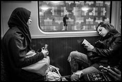 Melting (GioMagPhotographer) Tags: berlin girl germany subway reading hijab leicamonochrom