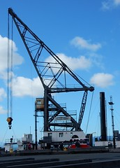 Wharf Crane - Wellington (mikecogh) Tags: triangles crane steel wharf wellington pulley