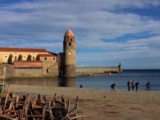 iPhone 6+. Beach life in Collioure, South of France in January