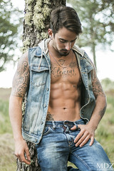 In the woods (MDZ male photography) Tags: shirtless male pecs tattoo ink goatee model jeans gran abs sixpack canaria tatuaje mdz ishootmalemodels