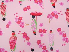 2546B - Sale - Japanese Girl Kimono Fabric in Pink , Plum Flower , Umbrella, Girls in Kimono (ikoplus) Tags: pink girls flower girl umbrella japanese doll sale sewing plum dressing fabric commercial kawaii quilting kimono supplies kokeshi ikoplusfabric 2546b