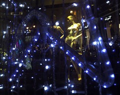 Dancing in the dark, Xmas lights in South Molton Street, London 2015 (Cybermyth13) Tags: christmas street xmas uk blue england white london window shop reflections shopping dark lights evening mannequins dancing outdoor londonist 2015 southmolton