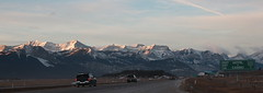 Next Exit (chrisroach) Tags: winter mountain snow car sunrise landscape rockies highway banff transcanadahighway canadianrockies