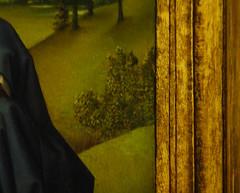 Van der Weyden, Crucifixion Triptych, detail with painted frame