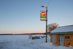 7 Up, Lake (metroblossom) Tags: lake snow building sign shop wisconsin lockers boats dusk motors bait 7up launching img0254 uppernemahbinlake