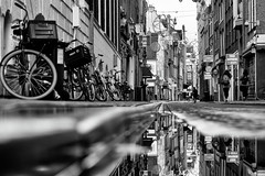(angheloflores) Tags: street people urban blackandwhite holland reflection water amsterdam bike explore