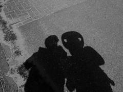 Encounter with an alien (RW-V) Tags: bw monochrome myself fun vakantie spring noiretblanc hiking alien zeeland nb zealand sw holliday lente printemps myshadow goeree frhling zw 2000views 3000views zlande 100faves 80faves 120faves canonpowershotg12 hatofasoundman