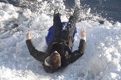 Crash Landing (John Bense) Tags: winter snow sports fun washingtondc crash outdoor slide georgetown landing land sledding sled