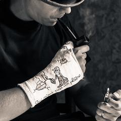 Ceci n'est pas un plâtre (dambr.vinc) Tags: light blackandwhite selfportrait hat canon fire break autoportrait smoke pipe naturallight plaster dessin chapeau wrist draw smoker creole fumer fumée plâtre poignet reunionisland réunionnais îledelaréunion scaphoïde canon5dmark2