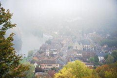Fog of an October Morning (Herculeus.) Tags: morning france fog buildings landscape outside outdoors town october outdoor churches seineriver lesandelys chalkcliffs shipsandboats 5photosaday richardthelionhearted rivercruiser