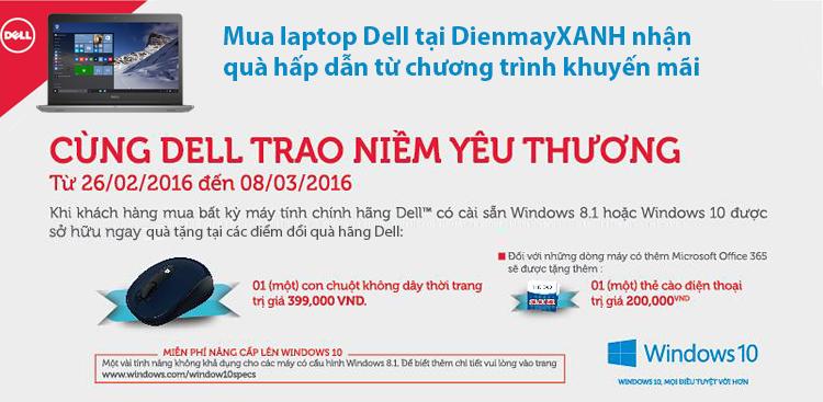 Mua laptop Dell tích hợp Windows bản quyền nhận quà tặng hấp dẫn!