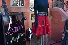 Always Chic (AntyDiluvian) Tags: street mannequin sign boston shop store belt sweater massachusetts newburystreet skirt chic backbay soodee alwayschic