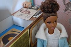 High Fidelity (Emily1957) Tags: blue light records wool fashion hair toy toys miniature nikon doll dolls barbie naturallight plastic cardboard malia console hifi mattel highfidelity blackdoll blackbarbie barbiedreamhouse nikond40 vintagebarbiemoodformusic hificonsole