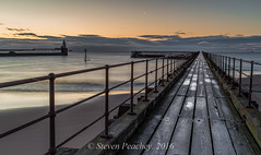 Frosty Pier (Steven Peachey) Tags: uk morning light england sky moon lighthouse clouds photography pier spring exposure frost outdoor northumberland predawn blyth northeastcoast northeastengland ef1740mmf4l lee09gnd leefilters canon6d blythpier lee06gnd lightroom5 stevenpeachey