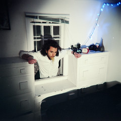 Unwelcome (Mason Witzel) Tags: portrait male 120 window night mason performance 120film nightmare conceptual narrative avantgarde witzel masonwitzel