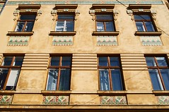 Lviv architecture (Isabel Sommerfeld) Tags: travel houses windows house color building art history home beauty architecture facade buildings colorful europa europe european artistic outdoor bricks roadtrip lviv ukraine traveling ukrainian kakel hus resa arkitektur ukraina roadtripping fasad byggnad resande lwow lwiw westernukraine ukrainsk