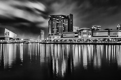 The Lowry Outlet Mall and Millennium Bridge, Salford Quays (G-WWBB) Tags: bridge blackandwhite bw water monochrome skyline night canon reflections mono canal blackwhite waterfront salfordquays millenniumbridge salford vue lowry lowrycentre millenniumfootbridge vuecinema lowrybridge lowryshoppingcentre canon6d lowryoutletmall salfordquaysliftbridge salfordquaysmillenniumfootbridge thelowryoutletmall lowrysalfordquays