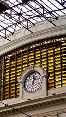 Station Clock of the Barcelona França railway station in Barcelona Spain