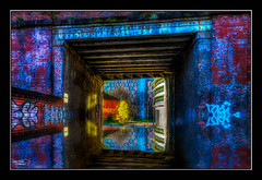 Tunnel Reflection (A Digital Artist) Tags: bridge trees england water architecture reflections manchester graffiti northwest tunnel lancashire 1855mm hdr canon1855mm kevinwalker canon1100d