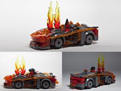 Nexo Flame Thrower Porsche (damoncorso) Tags: cars toys fire photo lego flames flame porsche micro legos nexo