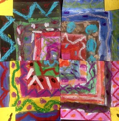 3rd grade Collaborative Concentric Squares (JuliaForsythArt) Tags: collage painting square movement drawing mixedmedia cutting collaborative 3rd collaborativeart oilpastel 3rdgrade 3rdgradeartproject temperapaint 3rdgradeart