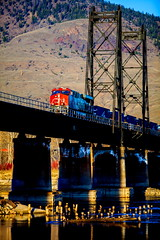 Pylons (stevenbulman44) Tags: bridge sky color train canon river landscape tripod hill pylon filter kamloops polarizer gitzo lseries 70200f28l
