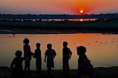 Utttar Pradesh (on explore) (silvia.alessi) Tags: travel light sunset people india color silhouette river children asia ganga ganges gange kumbhmela